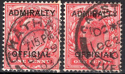 (325) 2 VERY GOOD USED EDVII 1d ADMIRALTY OFFICIALS