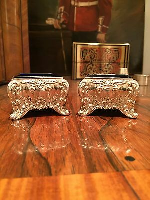 Ornate Pair of Continental Silver Salts - Mid-Victorian