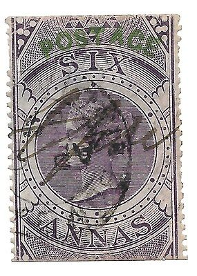 India 1866 6a Fiscal with Postal Overprint. JAL Cooper Authenticated. Used. SG68