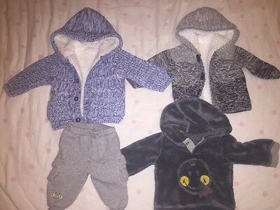 Baby boy winter warm hooded cardigans long sleeve top bunfle size 0-3 months