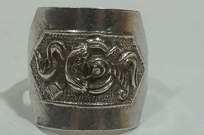 D105 Antique Silver Resizable Chinese Export Repousse Design 19th Century Ring