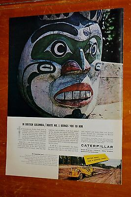 1957 Caterpillar Canadian Ad With British Columbia Totem Highway & Scraper - 50S