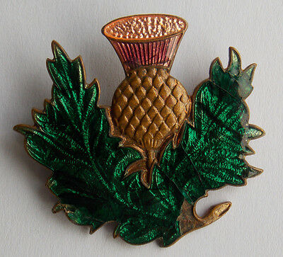 Edwardian Stratton guilloche enamel thistle brooch, circa 1910. Made In England