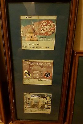 Sheffield Wednesday Old Wembley framed semi-final and final tickets 1993