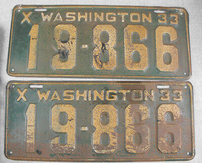 Vintage 1933 Washington License Plate Pair 19-866