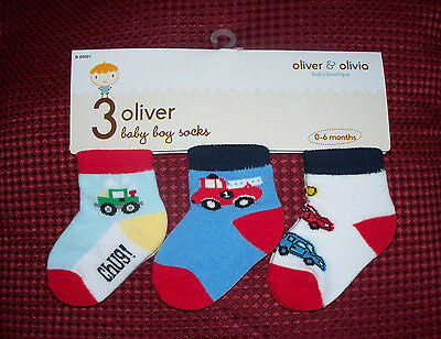 baby boys pack of three socks 0/6 months