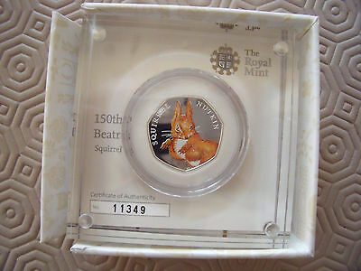 Beatrix Potter Squirrel Nutkin Silver Proof Coloured 50p Royal Mint Coin