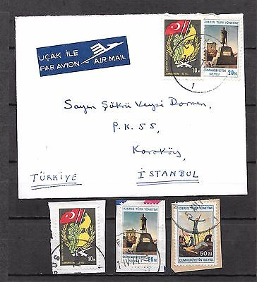 Cyprus 1974 50th Anniversaries 3 used on Piece stamps and Caver posted to Turkey