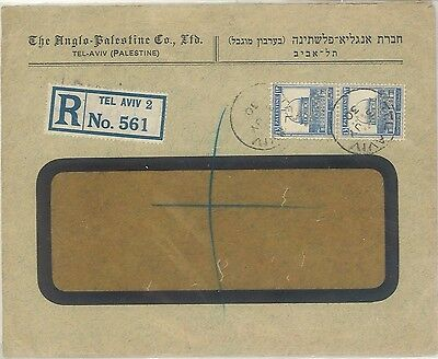 Palestine | 2 Perfin (!) Anglo-Palstine-Company APC stamps on reg. cover | 1930