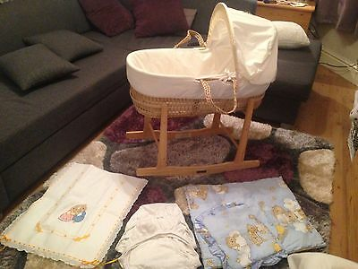 Moses Basket With Matress, Stand ,covers And Sheets