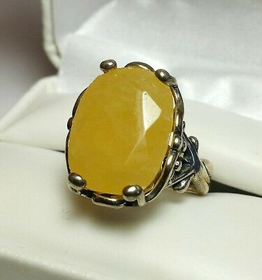 J5532 Vintage Carolyn Pollack Sterling Silver Yellow Quartz Ring - Sz 7