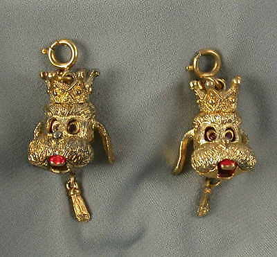 2 1960s Gold Tone Moveable Poodle Dog Charms