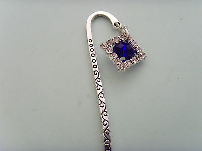 Silver Toned Book Mark With Hoop With A Ocean Blue & Diamanties Charm
