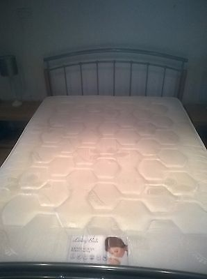king size metal bed with mattress - nearly new