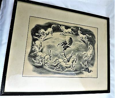 Circular Motion framed Signed Circus Art Print by Georges Schreiber