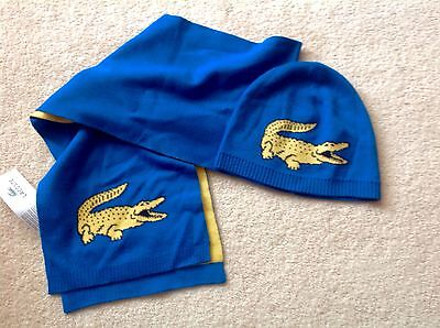 Lacoste Stunning Bright Blue Childs Scarfe & Hat Set Bnwt Size Medium