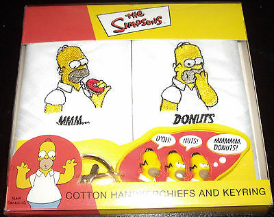 The Simpsons / Homer Simpson 2 x cotton handkerchiefs and keyring set
