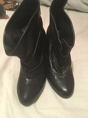 Ladies Moschino Black Leather Boots Size 6