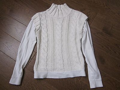 Pull Tricot Col Cheminee  Blanc Casse - Torsades - Taille 1