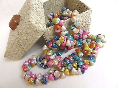 "48""+ VTG 40s RAINBOW TROCHUS SHELL NECKLACE with Woven BOX"