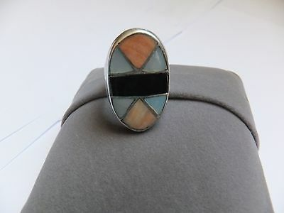 Vintage Native American Sterling Silver onyx mother of pearl inlay Ring