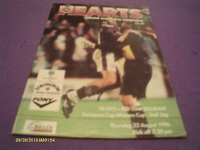 Hearts V Red Star Belgrade Cup Winners Cup Programme 1996