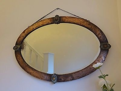 Arts and Crafts Vintage Oval Copper Frame Bevelled Wall Mirror Art Deco Nouveau