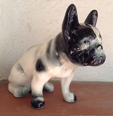 Vintage French Bulldog Figurine Ceramic Hand Painted Black White Dog