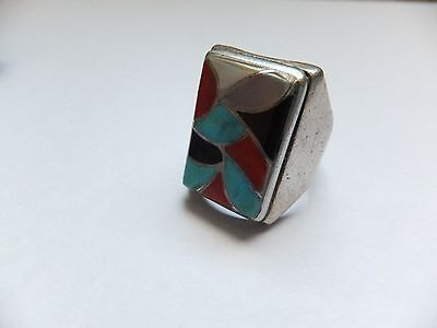 Vintage Native American Sterling Silver Coral Onyx Turquoise Ring