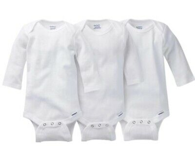 GERBER Baby Boy or Girl Unisex 3-Pack Long Sleeve Onesies - White - BRAND NEW