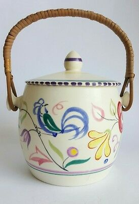 Vintage Poole Pottery Hand Painted Biscuit Barrel by Silvia Davis, 1950's
