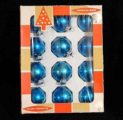 """Vintage 1 3/4"""" Turquoise Mercury Glass Christmas Ornaments By Coby Original Box"""