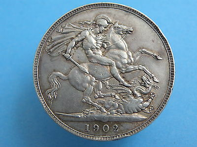 1902 King Edward VII CORONATION SILVER CROWN COIN -  High Book Value