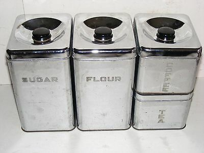 Vintage 4 Piece Lincoln Beautyware Stacking Chrome Canister Set Vintage Kitchen