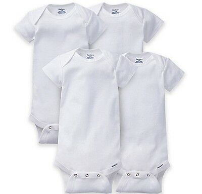 GERBER Baby Boy or Girl Unisex 4-Pack Short Sleeve Onesies - ORGANIC - White NEW