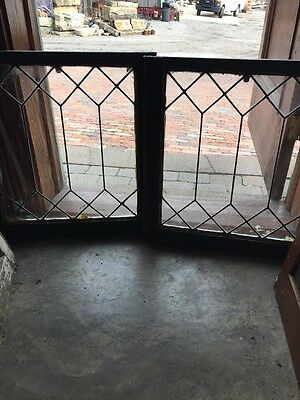 Sg 1112 Two Available Price Separate Antique Leaded Glass Geometric Window