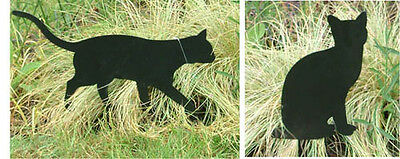 Cat Garden Ornaments-Pair of Black Cats-1 walking/1 seated lawn garden ornaments