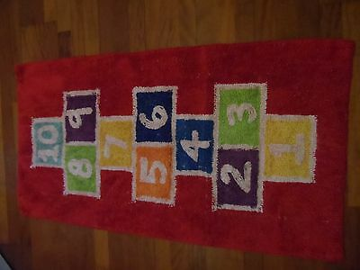 Childs washable hopscotch numbers playroom rug playmat 100% Cotton