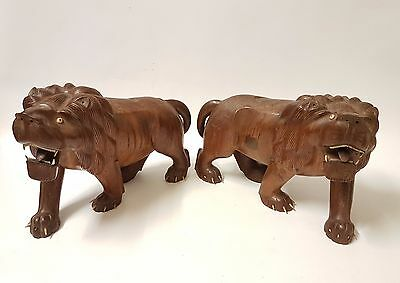 Large Antique / Vintage Chinese Oriental Japanese Wooden Lion Statues Figures