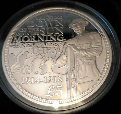 "2014 Guernsey Silver Proof £5 coin ""WWI Centenary"" in Case with COA"