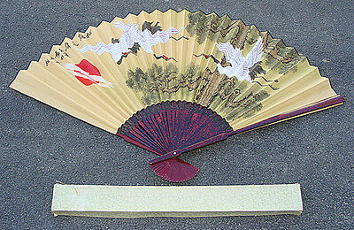 """GIANT Vintage 39"""" Tall Chinese Ladies Hand Fan Wall Decor w/ Box Cranes / Export"""