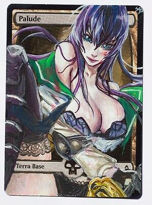 mtg altered Hot Warrior Sexy School Girl Anime Babe - Swamp