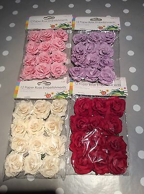 4 x Packs of Paper Rose Embellishments with Wire Stems