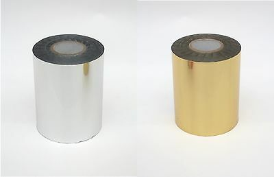 2  ROLLS METALLIC BRIGHT GOLD or SILVER HOT STAMPING PRINTING FOIL 400ft ea #153