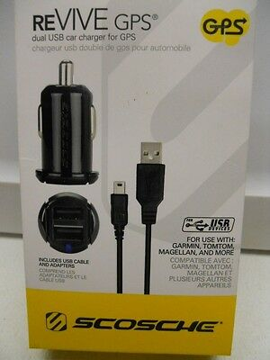 Duel Usb Car Charger For Gps With Adapters For Garmin,tomtom,magellan And More