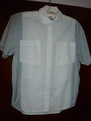 Ladies Dublin Horse Riding White/Check Short Sleeve Stock Shirt Size 16