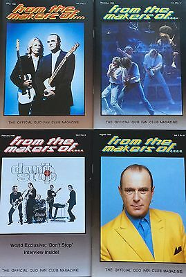4 x STATUS QUO OFFICIAL FAN CLUB MAGAZINES - Vol. 2 Nos. 1-4 in PLASTIC WALLET