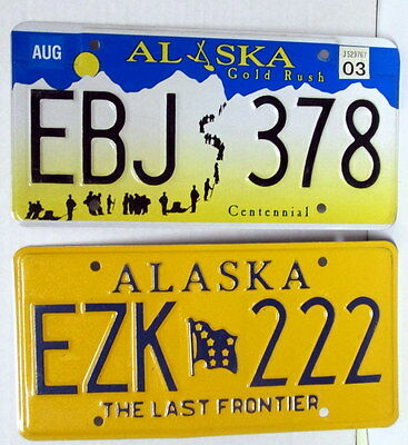 """Two Alaska License Plates """"The Last Frontier"""" And Centennial, Excell. Condition"""