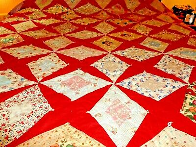 Beautiful Antique Handmade Knotted  quilt great bright colors
