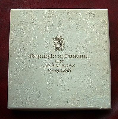 Mint Uncirculated Proof Boxed 1973 Panama 20 Balboas 4.5oz Sterling Silver
